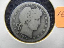 1912 Silver Barber 25c, (ONLY 4.4 Mill Minted) 90% Silver!