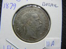 1879 Hungary Silver Florint. Extremely Fine detail.