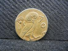 Replica 430 AD Ancient Athens (Greek Atena Owl) Gold Enhanced Coin