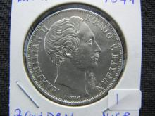 1849 Bavaria Germany 2 Guilders. Nice silver coin.