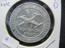 1954 National Aircraft Show Northrup F-89 D token. Uncirculated.