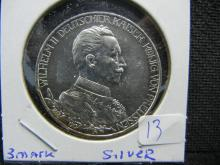 1913 A Prussia Germany. 3 Mark Silver. Remarkable surface!