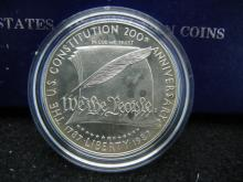 1987-S Constitution Silver Dollar. Proof. In government package.