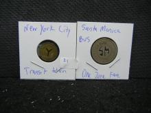 New York City & Santa Monica Calif. Transit tokens.