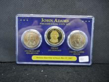 2007 P/D/S John Adams Presidential Dollars. One S Proof, Two UNC.
