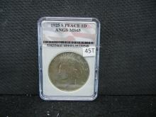 1925-S Peace Dollar ANGS MS 65