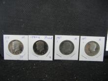 1978, 80, 85, 89 all S Proof Kennedy ½ Dollars.