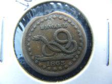 1863 Civil War Token w/Die Clip