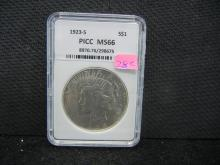 1923-S Silver Peace Dollar, MS66 PICC, (Check Your Books On This Coin), Beautiful Coin, Rare At This Grade!