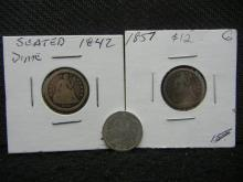 1842, 1857, and 1875 Seated Liberty Dimes.