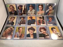 1953 Topps Who-Z-At Star Partial Set 45 of 80 - Clark Gable, Elizabeth Taylor, Rex Allen, Gene Kelly, Ricardo Montalban, Ava Gardner, Slim Pickens - Varying Conditions