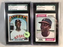 1972 Topps Mickey Rivers RC #272 & 1974 Topps Mickey Rivers #76 - Both Graded SGC 92