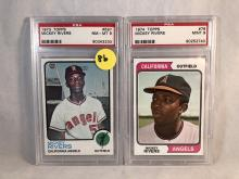 1973 Topps Mickey Rivers #597 PSA 8 & 1974 Topps Mickey Rivers #76 PSA 9