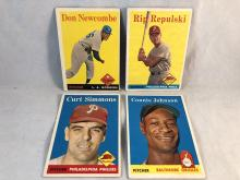 1958 Topps Baseball Don Newcombe, Rip Repulski, Curt Simmons, Connie Johnson