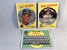 1959 Topps Baseball Cleveland Indians Team Card, Bill Bruton, Tom Gorman