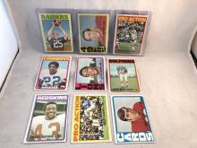 1972 Topps Football Lot of 9 - Varying Conditions - Fred Biletnikoff, John Brodie, John Riggins RC IA