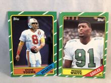 1986 Topps Football Steve Young and Reggie White Rookie Cards
