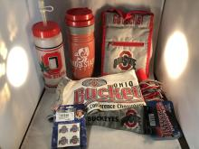 Lot of Misc Ohio State Buckeyes Items - Scarf, Antenna Pennant