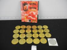1998 Pinnacle Mint Football Coins w/ Peyton Manning and 1994 Action Packed Gold Plated Pin Set