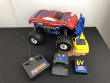 Tyco Spiderman Monster Jam Wireless Remote Controlled Monster Truck/Car with rechargeable battery pack - Tested and working