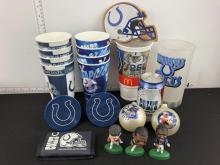 Lot of Indianapolis Colts Collectibles - Peyton Manning Ornament, Cups, Headliners Figures, Speakers