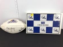 Sealed 1993 Indianapolis Colts Checkers Set & NFL QB Club Football with Facsimile Signatures