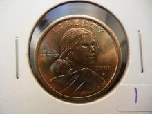 2000P Sacagawea Dollar.  Brilliant Uncirculated.  Rainbow toning.