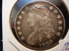 1830 Capped Bust Half Dollar.  Extremely Fine detail.  Nice toning.