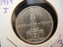 1934 J Germany 2 Reich mark.  Extremely Fine.  Silver Hamburg Mint.