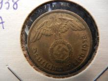 1938 A Germany 10 Pfennig.  Almost Uncirculated.  Berlin Mint.
