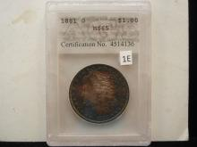 1881 - O AGS Graded MS65 Perfectly Toned Morgan
