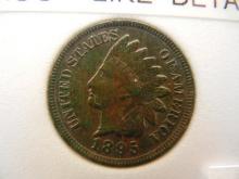 1895 Indian Head Cent Dark Toned 4 Diamonds