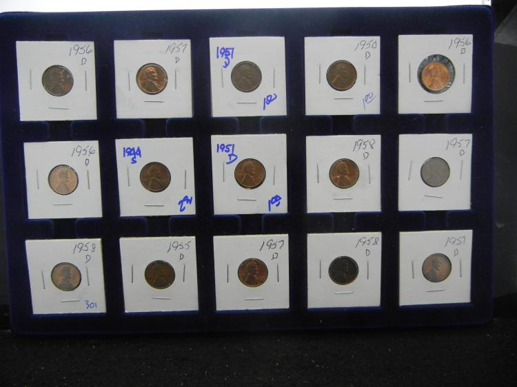 REDDISH BROWN WHEAT PENNY LOT INCLUDES 1951-D, 1950-D, 1956