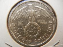1936 F Germany 5 Mark silver coin with luster.  Stuttgart Mint.
