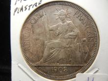 1903 A French Indo China Piastre.  Silver Dollar Sized.  Extremely Fine.