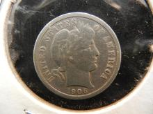 1906 Silver US Barber Dime, Nice condition, 110 Years Old!