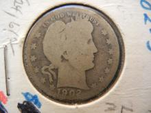 1902-S US Silver Barber Quarter, Low Mintage (Only 1.5 million) Turn Of The Century Coin!