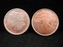 (2)1 Ounce Pure Copper Rounds, Uncirculated!
