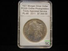 1921 Morgan Silver Dollar, PCGS Online Photograde PL-66, Appraised At $7,500