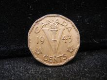 1943 Canadian 5 Cents Tombac Brass
