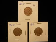 1915 D, 1916 & 1916 D Buffalo Nickels
