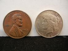 1922 Peace Dollar and 1965 Large One Cent Medallion