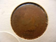 1866 key date indian head penny. This coin books for $50 in good condition