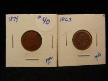 1879 and 1863 indian head pennies. 2 Coins for 1 money