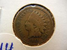 1861 indian head penny. Book value $25 in good condition