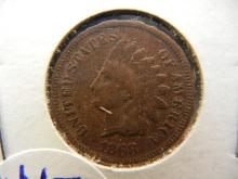 1868 indian head penny semi key date. This coin books for $40 in good condition.