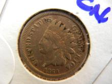 1860 indian head penny Copper nickel. Early date Coin