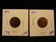 1875 and 1861 Indian Head Pennies. 2 Coins for 1 money!!!. Both are better dates