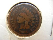 159. 1866 Indian Head Penny key date. Books for $50 in good condition