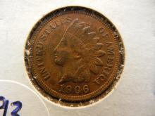 193. Reddish brown 1906 Indian Head penny. High grade.